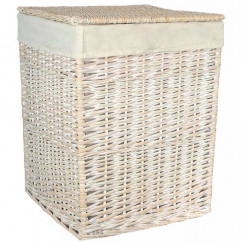 New England White Washed Square Wicker Laundry Bin Basket Plain Large H 61 x W 46cm